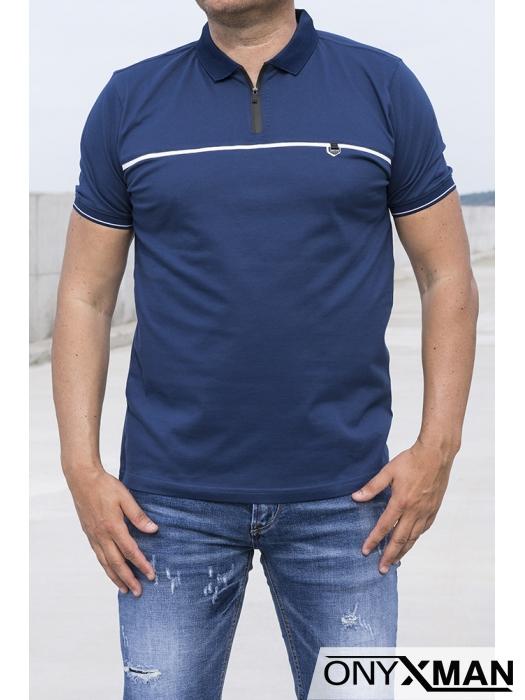 Стилна поло тениска в син индиго цвят