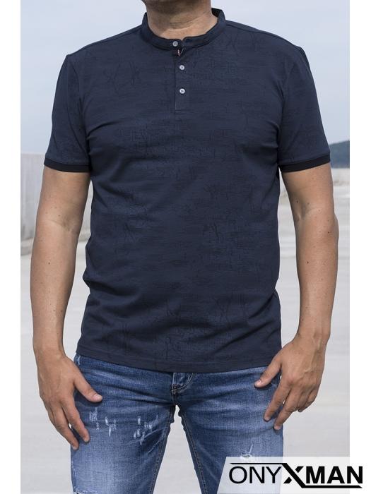 Мъжка тениска със столче яка 151144