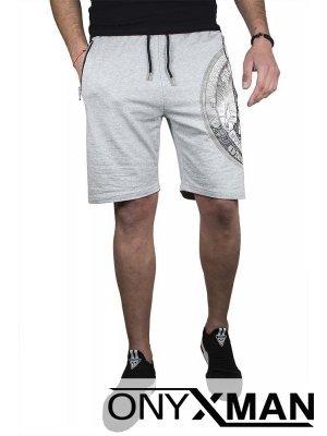 Спортни мъжки къси панталони в сиво с камъни