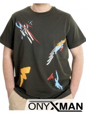 Мъжка тениска с актуален принт Големи размери