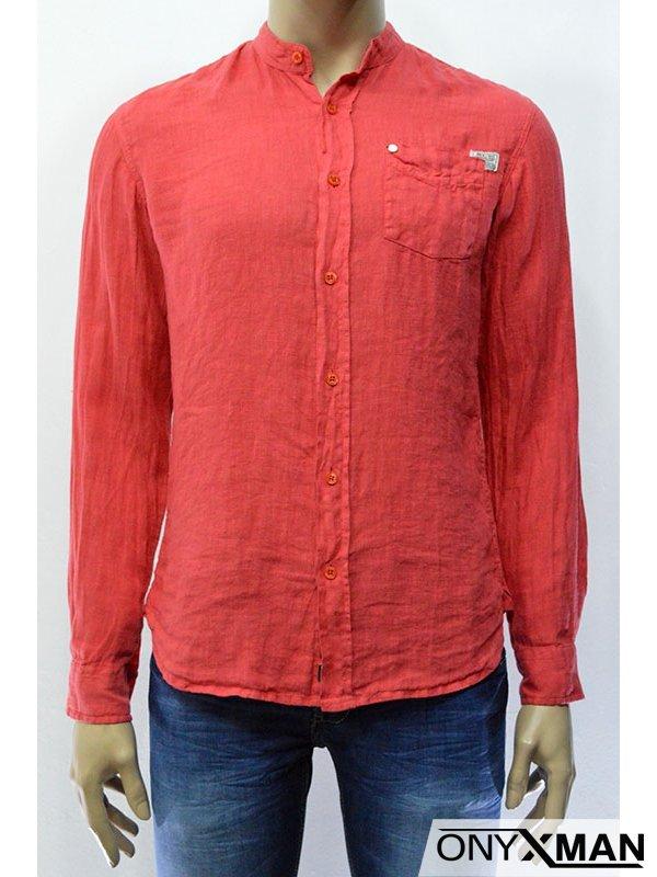 Ленена мъжка риза с къс/дълъг ръкав в два цвята