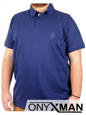 Макси тениска с яка в синьо