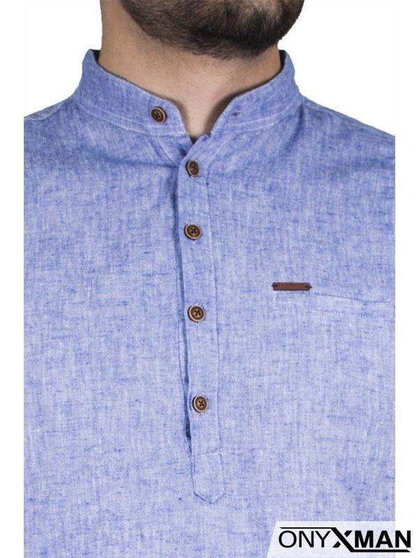 Стилна лятна мъжка риза с къс/дълъг ръкав