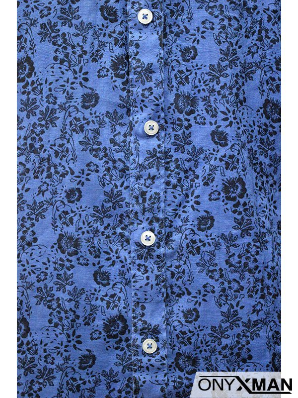 Мъжка риза в четири цвята с интересен десен на цветя
