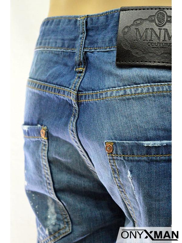 Модерни къси мъжки дънки с верижка