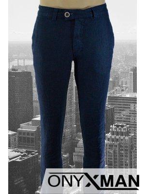 Дълъг ленен мъжки панталон в тъмно син цвят