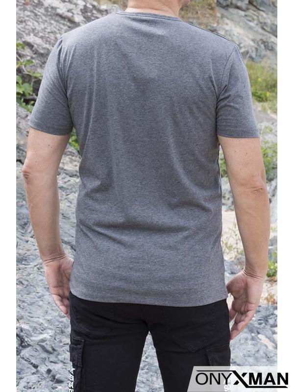 Тениска в сиво с остро деколте и емблема