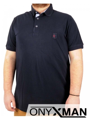 Макси тениска с яка в тъмно син цвят