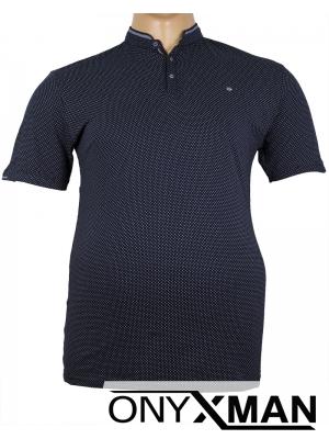 Макси тениска в тъмно синьо с попска яка