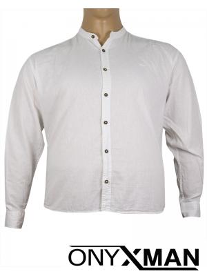 Макси ленена риза с дълъг ръкав в бяло