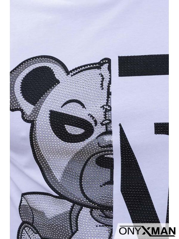 Мъжка тениска в бял цвят с принт Мече