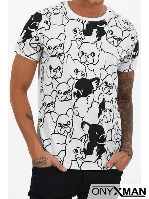 Тениска в бяло с интересен принт