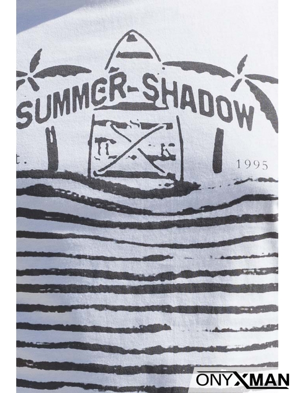 Тениска в бяло с палми и сърфове