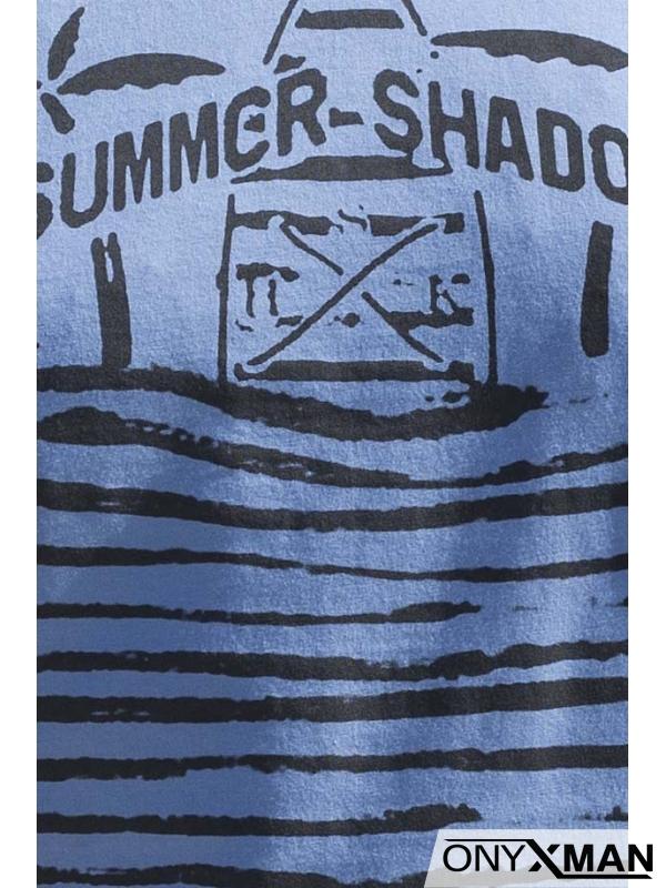 Тениска в синьо с палми и сърфове