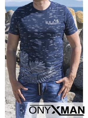 Тениска в синьо с палмови листа