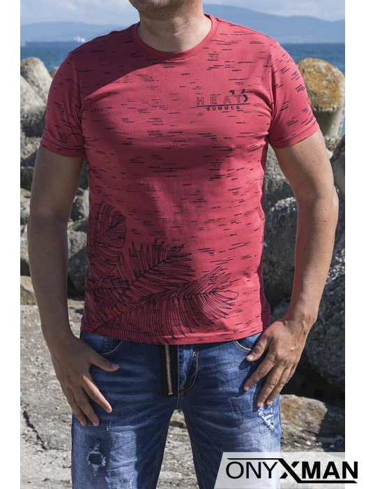 Тениска в червено и палмови листа