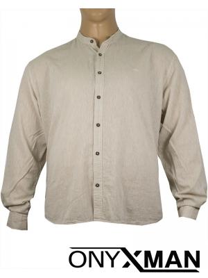 Макси ленена риза с дълъг ръкав в бежово