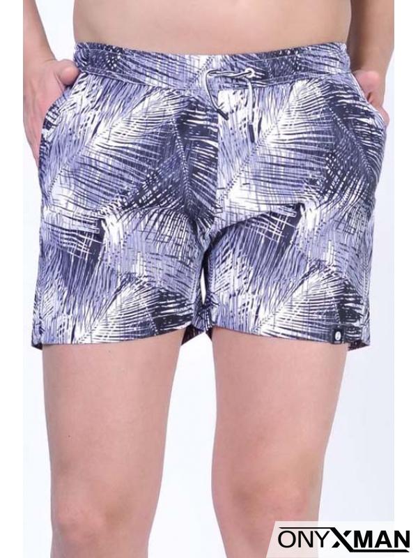 Плувни шорти в бяло и черно с палмови листа