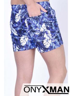 Плувни шорти на сини листа