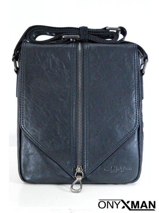 Мъжка чанта от естествена кожа с декориран с цип капак