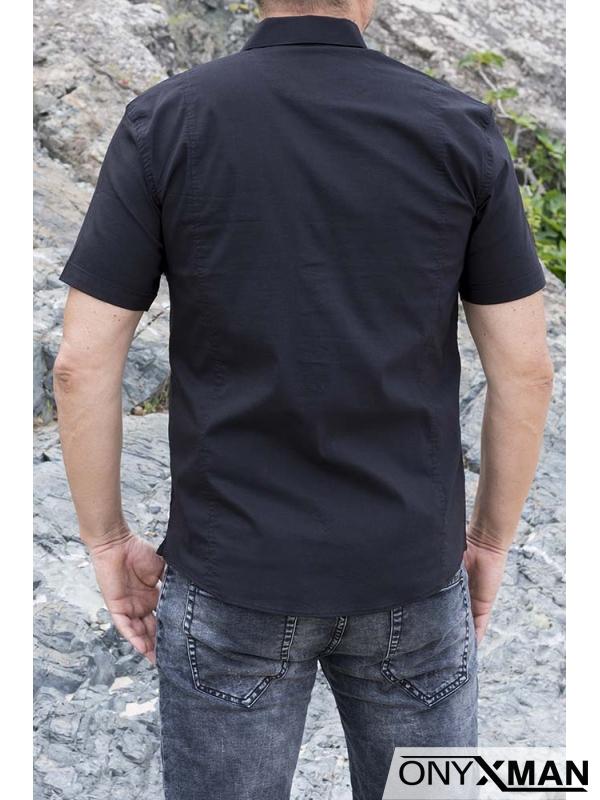 Мъжка риза с къс ръкав в черен цвят