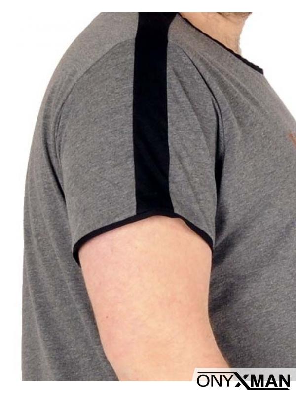 Макси тениска в сиво с щампа