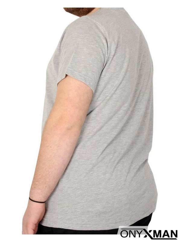Макси тениска в светло сиво с принт