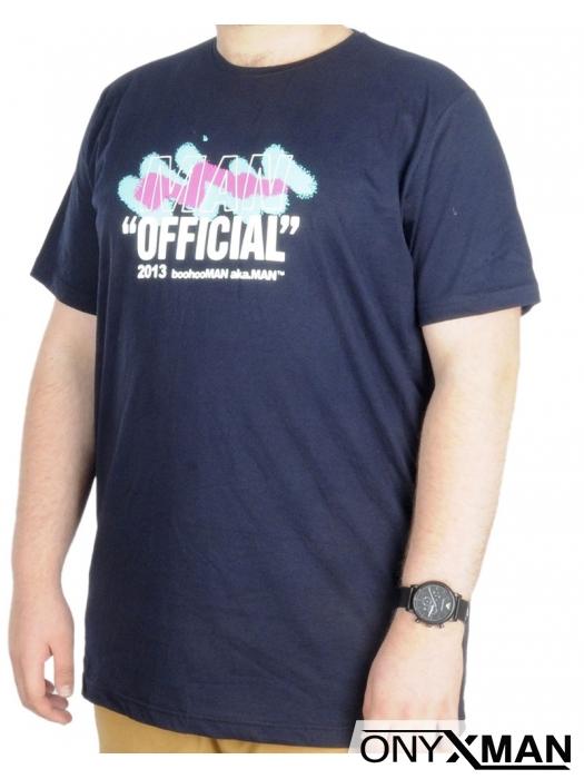 Макси тениска в тъмно синьо с релефен принт