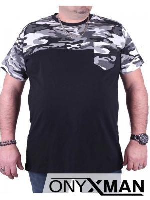 Макси тениска в черно с камуфлажен джоб