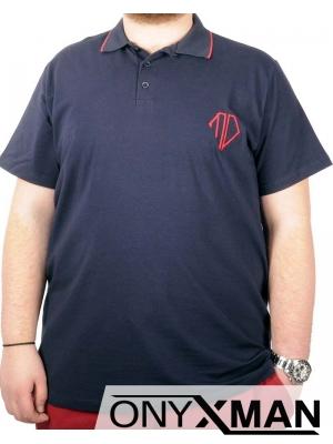 Макси тениска с яка в тъмно синьо с червена бродерия