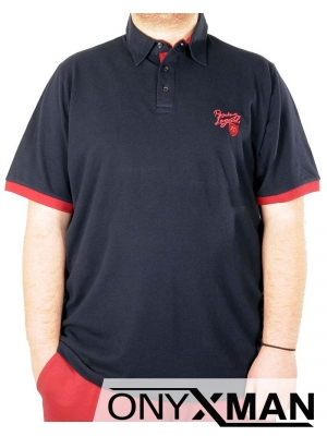 Макси тениска с яка в синьо с червена емблема