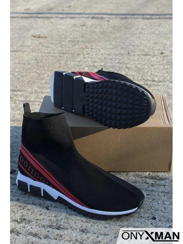 Спортни обувки с ластичен чорап с червени надписи
