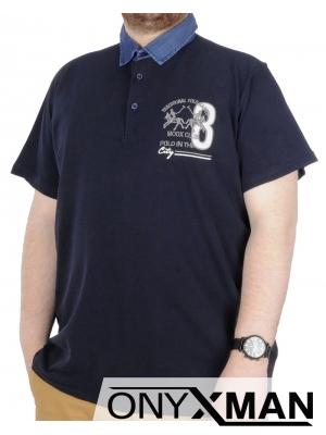 Макси поло тениска с яка в тъмно синьо