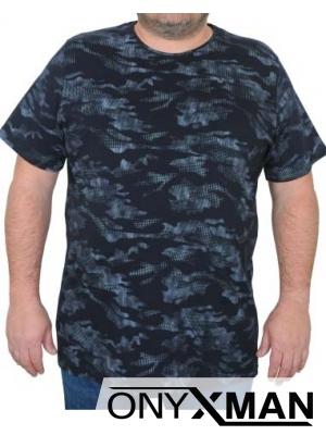 Макси тениска в синьо с камуфлажен принт