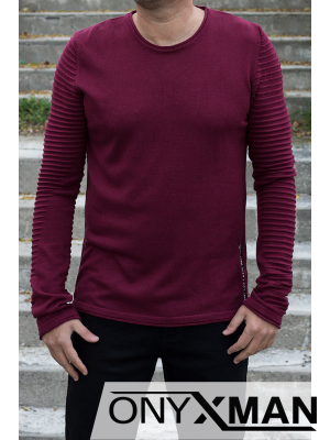 Мъжка блуза плетиво с ципове