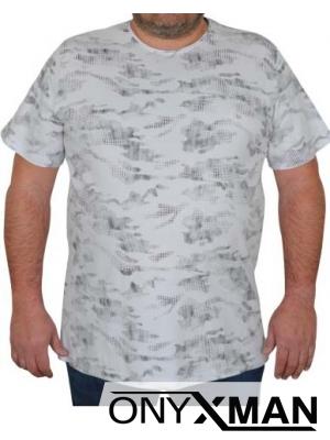 Макси тениска в бяло с камуфлажен принт