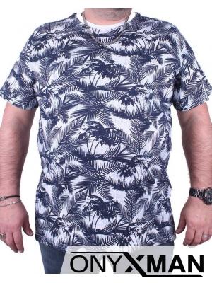 Макси тениска в бяло със сини листа