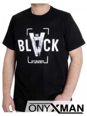 Макси тениска в черно с надпис BLK