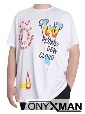 Макси тениска в бяло с надпис BLK