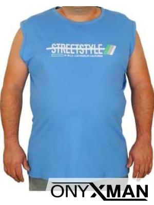 Макси потник в синьо с надпис Street