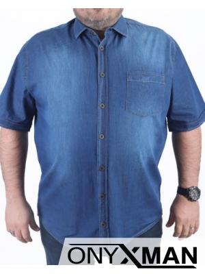 Дънкова риза в синьо с къс ръкав Големи размери