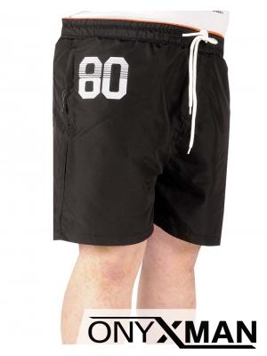 Плажни шорти в черно с цифра Големи размери