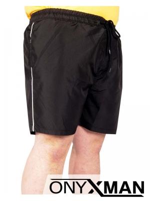 Плажни Макси шорти в черно с бели кантове