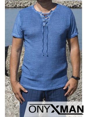 Синя тениска с връзки