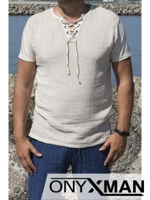 Тениска в бежово с връзки