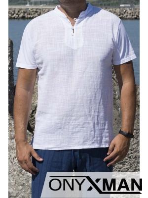 Памучна тениска в бяло с копченца
