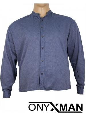Макси ленена риза с дълъг ръкав в тъмно синьо