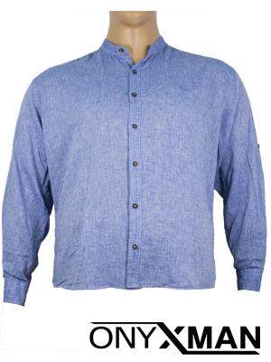 Макси ленена риза с дълъг ръкав в синьо