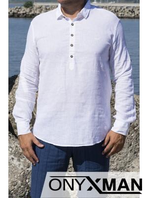 Ленена риза с дълъг ръкав в бяло с яка