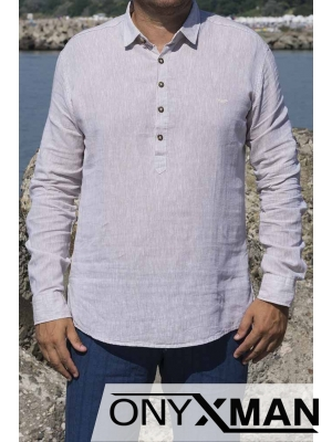 Ленена риза с дълъг ръкав в бежово с яка